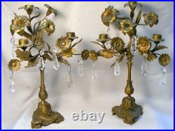 Pair Of Antique Brass Candelabras Flowers, Leaves & Prisms With 3 Candle Holders