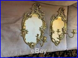 Pair Of Antique Brass Mirrored Wall Hanging Sconces With Two Arm Candle Holders