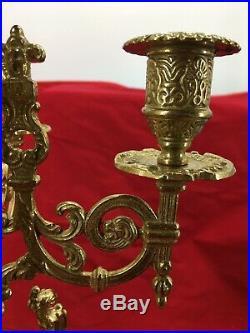 Pair Of Antique Italian Brevettato Baroque Brass Bronze Candelabra Ornate