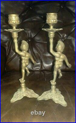 Pair Of Antique Vintage Candle Holders Candlesticks Brass Cherub Angel