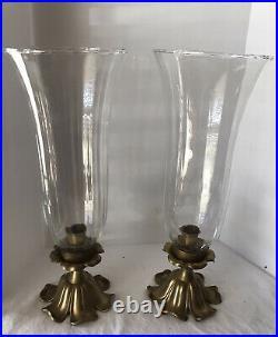 Pair Of Bombay Company Brass/Glass Candlesticks