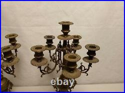 Pair Of Brass 6 Arm Candelabras Candle Holders 20