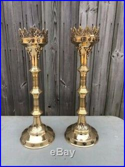Pair Of Brass GOTHIC CandleSticks / Candle Holder Church Candle Holder 19