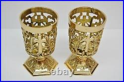 Pair Of Brass Votive Candle Holders With Blue Glass #284