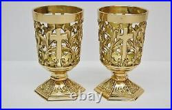 Pair Of Brass Votive Candle Holders With Red Glass #284