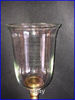 Pair Of Chapman Brass Candle Holders With Hurricane Shades 28 3/4 High