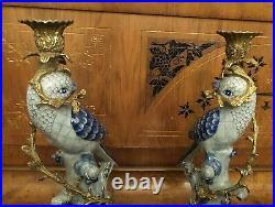 Pair Of Hollywood Regency Herren Like Blue Parrot Bird Candleholders