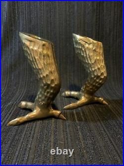 Pair Of Hollywood Regency Vintage Brass Claw Talon Candle Sticks