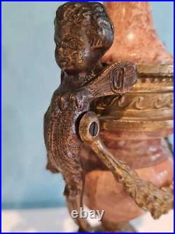 Pair Of Italian Candelabra in brass with cherubs vintage