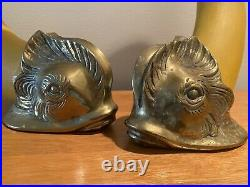 Pair Of Large Koi Fish Candle Stick Holder Wood And Brass