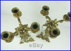 Pair Of Large Vintage Brass Candelabra 3 Arm Hanging Crystals Hollywood Regency