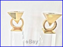 Pair Of Lucite Brass Metal Candle Holders