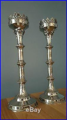 Pair Of Solid Brass CandleSticks / Church Candle Holder Nickel Finish 30 Tall