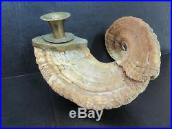 Pair Of Vintage / Antique Ram Horn Mount Candle Brass Stick Holders Rustic Cabin