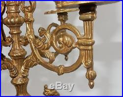 Pair Of Vintage Brass 5-arm Candle Holders 16.75 Italian Centerpiece Candlabra