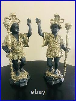 Pair Of Vintage Brass Blackamoor Candle Holders