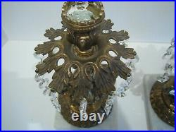 Pair Of Vtg Brass And Crystal Prisms Candle Holders Cherub & Fish On Marble Base