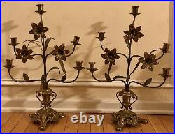 Pair Ornate Antique BRASS CANDELABRAS French Flowers Leaves Set Unique Old 22