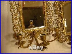 Pair Ornate Antique Victorian Brass Mirrored Wall Sconces with North Wind Faces