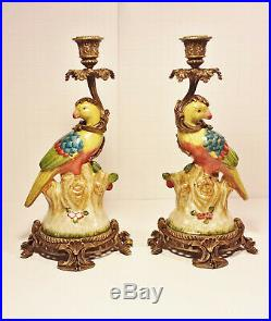 Pair Porcelain Birds, Brass Base Candlestick Holders with Hallmark