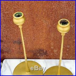 Pair Robert Jarvie Brass Antique Candlesticks Delta Style circa. 1910. HH#14494