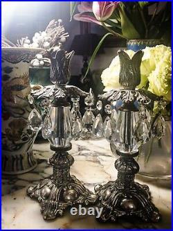 Pair True Antique Candelabra Candlesticks, Ornate Crystal And Brass, Excellent