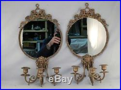 Pair Victorian Bronze or Brass Antique c1880 Round Wall Mirrors & Candle Sconces