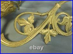 Pair Victorian Gothic Dore Brass Candelabra Sconce 4 Candle Holder 1880 Original