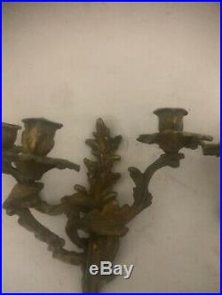 Pair Victorian Style Brass adjustable 3 Arm Candelabra Wall Sconce Candle Holder
