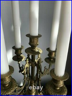 Pair Vintage Baroque Style Candelabra Candlestick Holder 4 Arms Holds 5 Candles