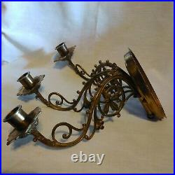 Pair Vintage Brass Wall 3-Arm Candle Holder Candelabra Wall Sconces