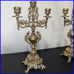 Pair Vintage Brevettato Brass Candelabras, Made in Italy 14 1/2 Tall