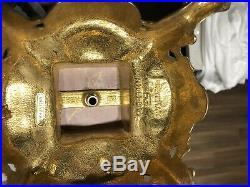 Pair Vintage Brevettato Candelabras Italian Italy Marble/Brass/Bronze Baroque