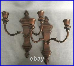 Pair Vintage Copper Brass Double Candle Holder Wall Sconces