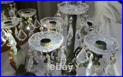 Pair Vintage Four Arm Solid Brass Candelabra, Polished Natural Stone, Prisms