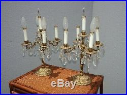 Pair Vintage French Provincial Crystal Candalabra Candle Holders Table Lamps