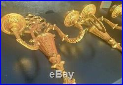 Pair Vintage Hollywood Regency Ornate Gold Red Brass Double Arm Candle Sconce