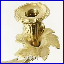 Pair Vintage Ornate Brass Rococo Style Wall Mount Candle Holder Sconce 16