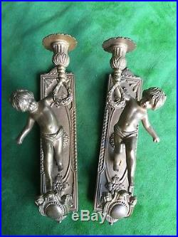 Pair Vintage Solid Heavy Brass Cherub Candle Stick Holder Wall Sconces Italian