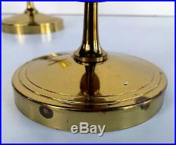 Pair Vintage Tommi Parzinger Brass Candle Holder Dorlyn Silver Smith Candlestick
