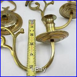 Pair Virginia Metalcrafters Colonial Williamsburg Brass Candle Sconces CW16-3