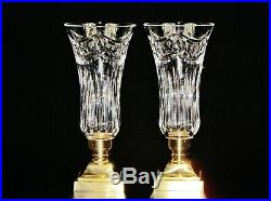 Pair Waterford Crystal Lismore Pattern Crystal & Brass Hurricane Candle Holder