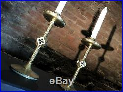 Pair Weighty Antique Church / Alter Candlesticks Brass Gothic Candle Holders