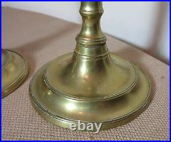 Pair antique 18th century brass push up shafts brass candlesticks candle holders