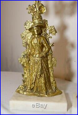 Pair antique ornate girandole dore bronze crystal candelabra brass candle holder