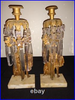 Pair antique ornate girandole dore bronze crystal candelabra candle holder brass
