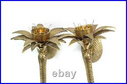 Pair of 1970's Brass Palm Tree Candleholders Wall Sconces Hollywood Regency