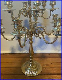 Pair of 2 Large 13 Light Baldwin Brass Candelabras Candlesticks 20