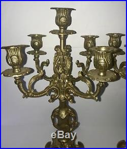 Pair of (2) Vintage Brass 17 Candelabras Italian style 4 arm stunning