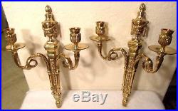 Pair of 2 Vintage Ornate thick gilt brass candle holder wall sconces fixtures